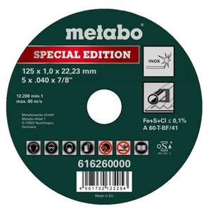 Metabo Trennscheibe Inox Spezial Edition II 125 x 1,0 x 22,23 mm
