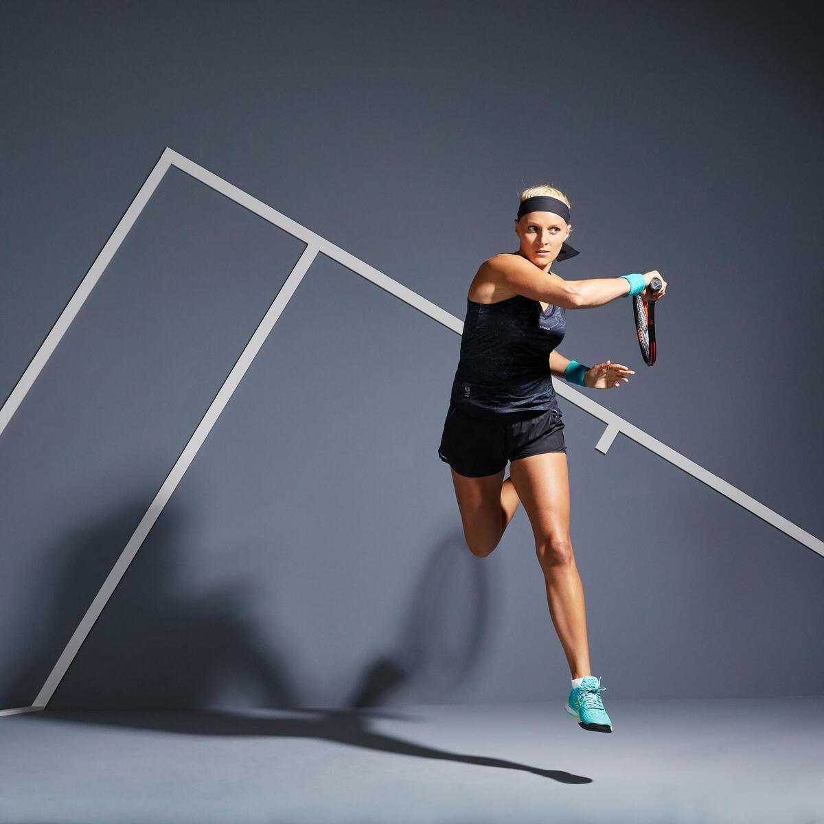 Bild 2 von Tennis-Shorts SH light 900 Tennis Damen grau/schwarz