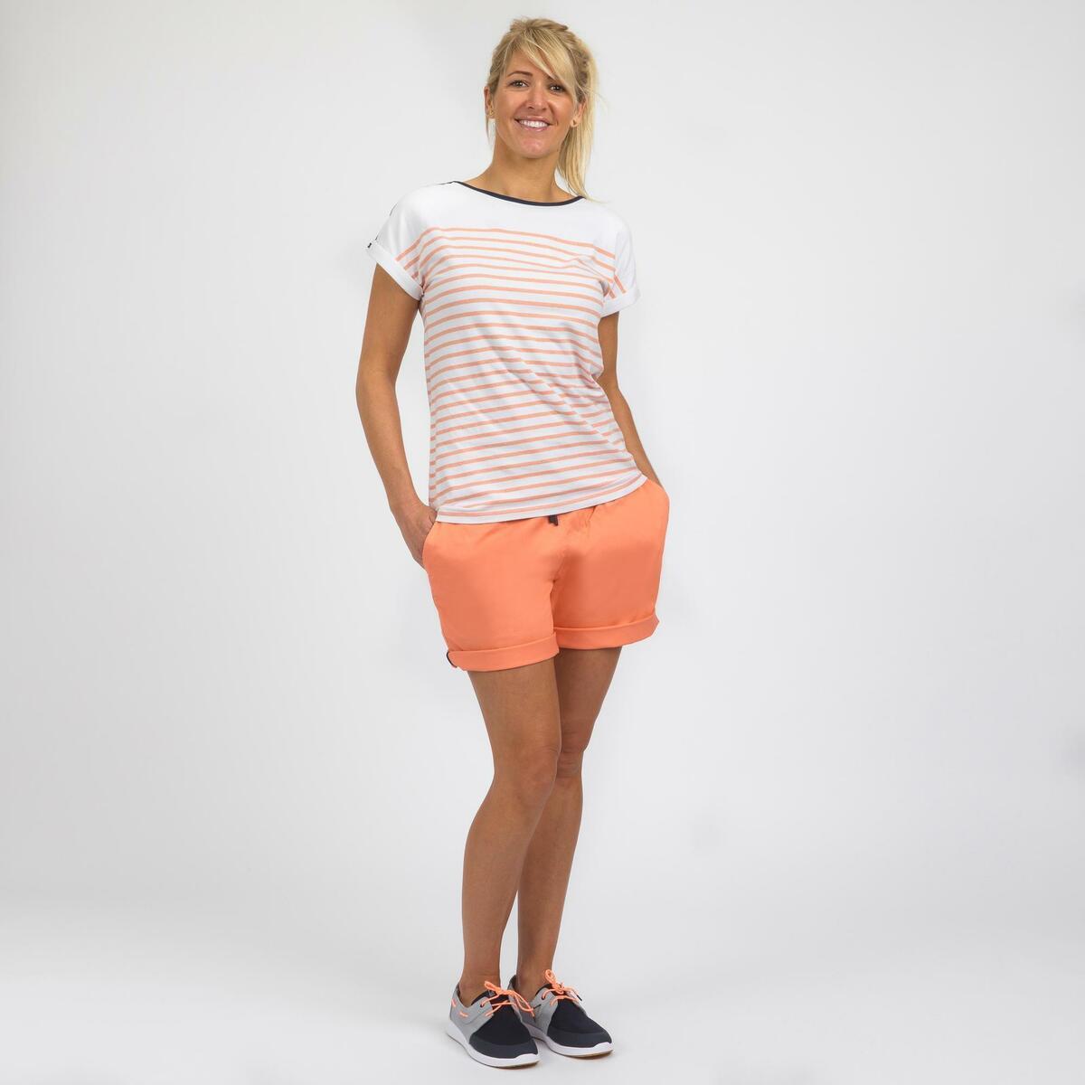 Bild 2 von Segelshirt kurzarm Sailing 100 Damen weiß/koralle