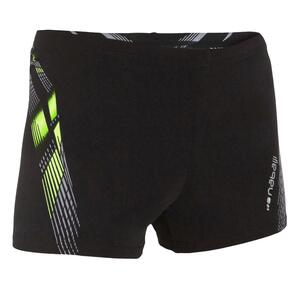 Badehose Boxer 500 Fit Adibo Jungen schwarz/gelb