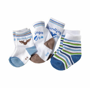 Baby-Jungen-Socken in angesagter Trachten-Optik, 3er Pack