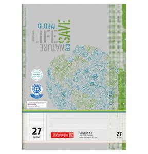 BRUNNEN             Recycling Schulheft, A4, Lineatur 27, liniert mit Randlinien                 (10 Stück)