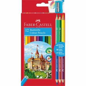 Faber Castell Buntstifte Eco, 12 + 3 Bicolorstifte + Anspitzer