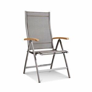 Klappstuhl m.Teak-Lehne   Steel Edelstahl/Textilene