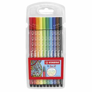 STABILO Fasermaler Pen 68 Kunststoff-Etui Braun, Dunkelrot, Gelb, Hellgrün, Karmin, Neonblau, Neongr