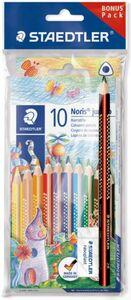 10 Buntstifte Noris jumbo - mit Schreiblernbleistift und Radierer