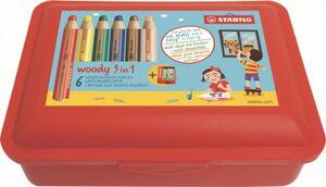 Buntstifte Woody 3in1 - 6 Stifte in Aufbewahrungsbox