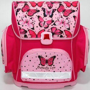 Schulranzen - 4teiliges Set - Motiv pinker Schmetterling