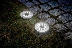 EZSolar LED-Edelstahl-SolarBodenstrahler, rund - 2er Set
