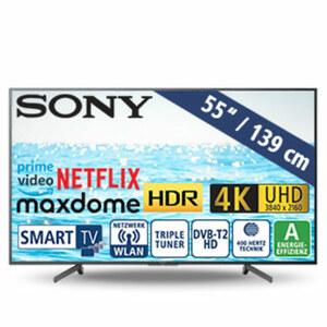 """55""""-Ultra-HD-LED-TV KD55XG7004BAEP • TV-Aufnahme über USB, HbbTV • 3 HDMI-/USB-Anschlüsse, CI+ • 2 x 10 Watt RMS • Stand-by: 0,5 Watt, Betrieb: 110 Watt • Maße: H 72,1 x B 124,2 x T 7,9"""