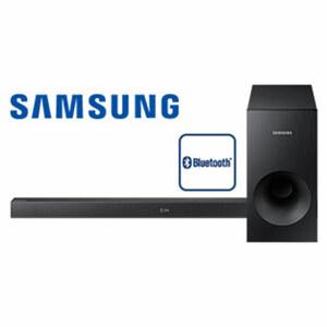 2.1-Bluetooth®-Soundbar HW-K335/ZG mit Subwoofer • 130 Watt RMS • Audio-Remote-App, um den Sound direkt zu steuern • optischer Audio-Eingang, USB-/Aux-Anschluss • Maße Soundbar: H 5,4 x B 9