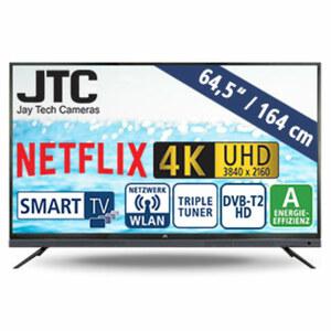 "65""-Ultra-HD-LED-TV Atlantis Sound 6.5N • 3 HDMI-/USB-Anschlüsse, CI+ • Stand-by: 0,5 Watt, Betrieb: 135 Watt • Maße: H 88,2 x B 146,1 x T 8,5 cm • Energie-Effizienz A (Spektrum A++ bis E)"
