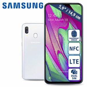Smartphone Galaxy A40 A405F · Frontkamera (25 MP) · Dual-Rückkamera (5 MP/16 MP) · 4-GB-RAM, bis zu 64-GB-interner Speicher · microSD™-Slot bis zu 512 GB · nanoSIM · Android™ 9.0