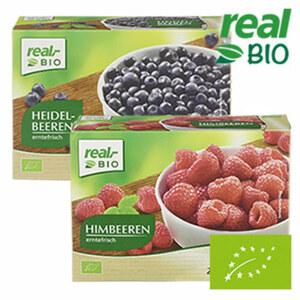 Himbeeren oder Heidelbeeren gefroren, jede 250-g-Packung