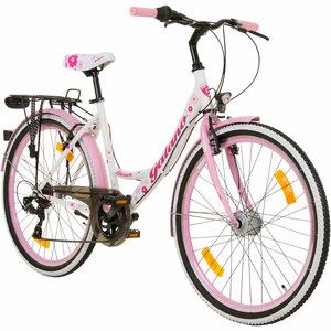 Galano Blossom 26 Zoll Mädchenrad Jugendrad Cityrad Mädchenfahrrad, Farbe:weiss/rosa