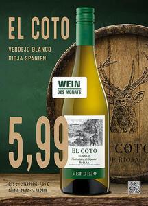 El Coto Verdejo Blanco Rioja, Spanien