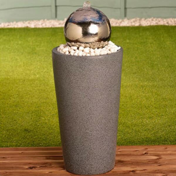 Deko-Brunnen mit verspiegelter Edelstahl-Kugel 30 x 70 cm
