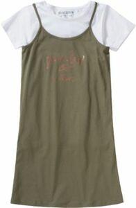 Kinder Set Jerseykleid + T-Shirt grün Gr. 164 Mädchen Kinder