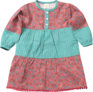ALANA Kinder-Kleid, Gr. 98, in Bio-Baumwolle, rosa, türkis
