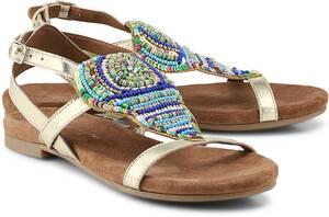 Ethno-Sandale von COX in gold für Damen. Gr. 38