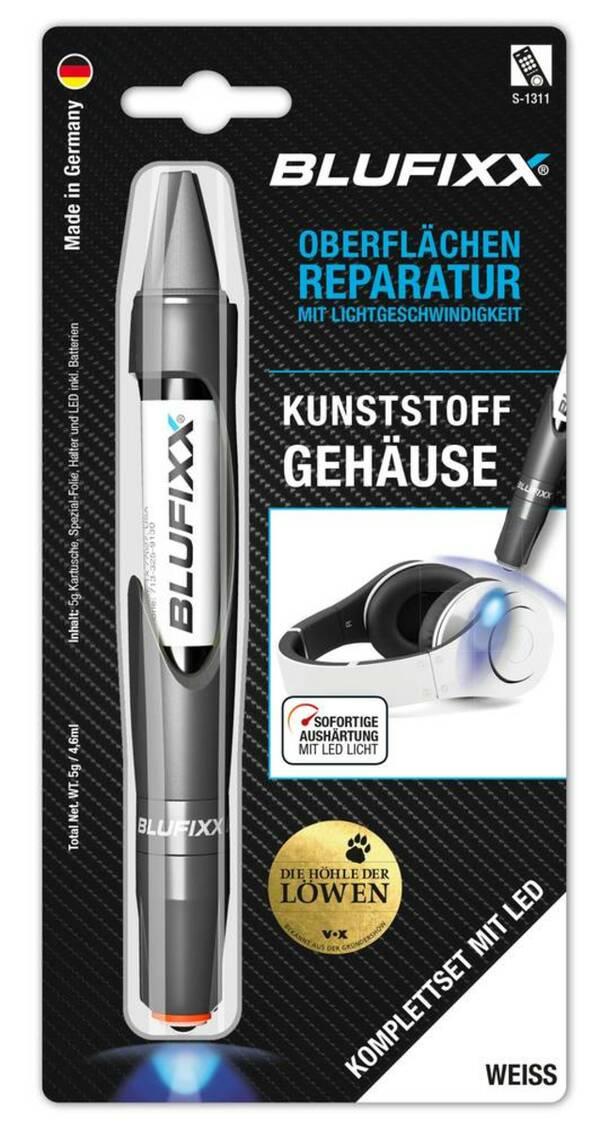 Reparaturstift 5 g PW für Kunststoffgehäuse inklusive blauem LED-Licht, weiß Blufixx