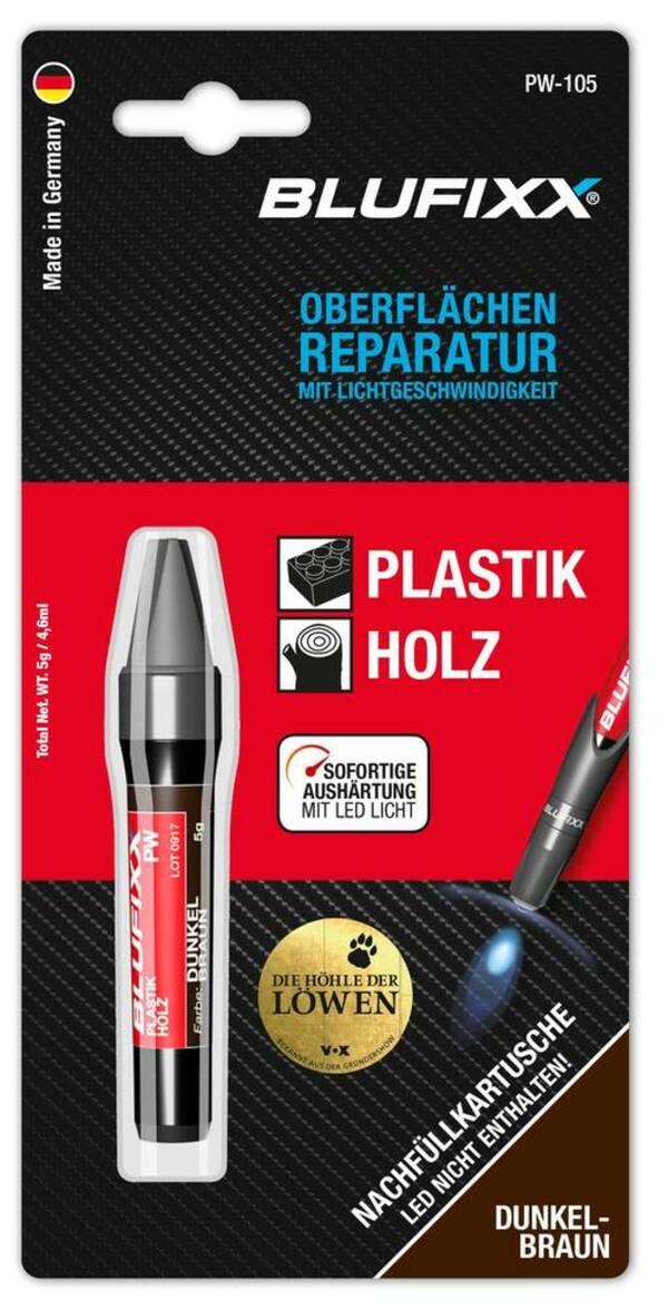 Ersatz-Kartusche 5 g für Reparaturstift Plastik und Holz, dunkelbraun Blufixx