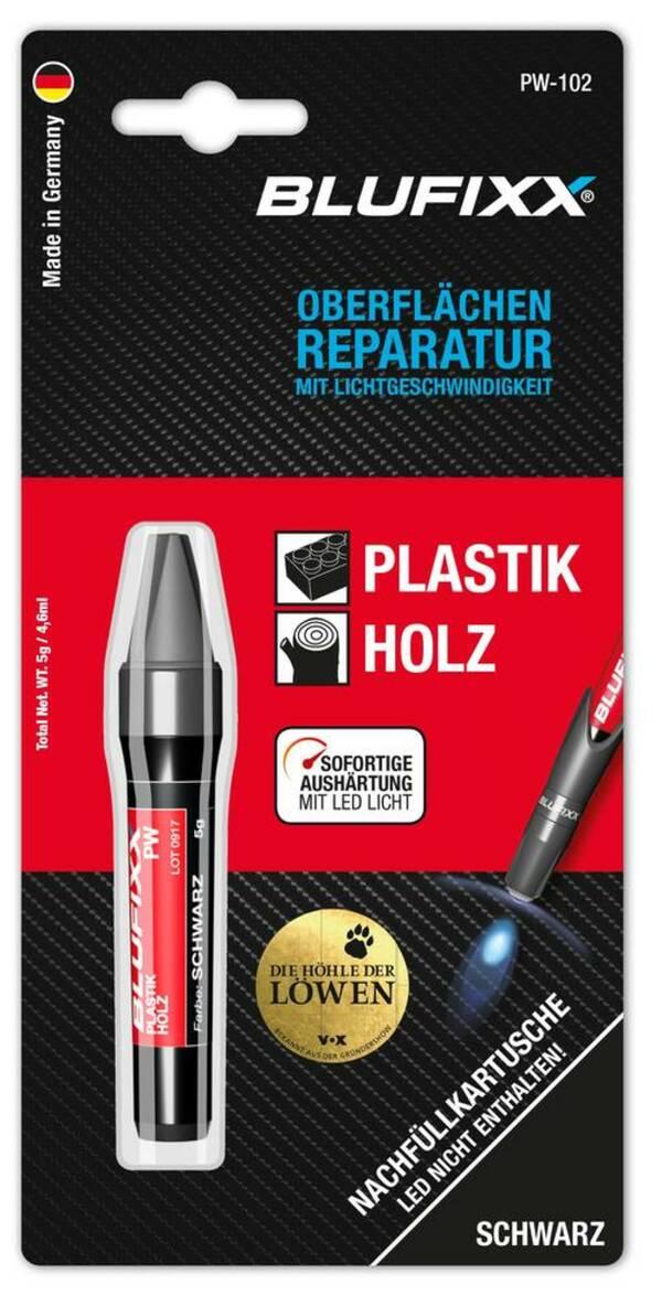 Ersatz-Kartusche 5 g für Reparaturstift Plastik und Holz, schwarz Blufixx