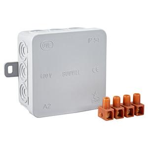 Budvill Abzweigkasten Aufputz 75 x 75 x 37mm IP54 mit Klemmblock