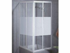 Schulte Sunny Eckeinstieg 2-teilig variabel 1850 x 750 - 880 mm, Dusche in alpinweiß, Echtglas Dekor Dezent inklusive fixil-Glassiegel