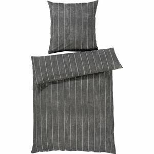"Yorn Casa Renforcé Kissenbezug ""Streifen"", 040x080 cm, grau"