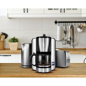 MEDION Edelstahl Frühstücksset mit Kaffeemaschine MD 16230, Wasserkocher MD 16231 & Doppelschlitz-Toaster MD 16232