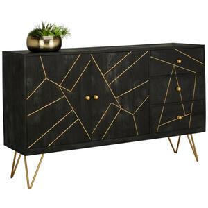 Ambia Home SIDEBOARD Akazie massiv lackiert, gebeizt, sandgestrahlt Schwarz, Gold