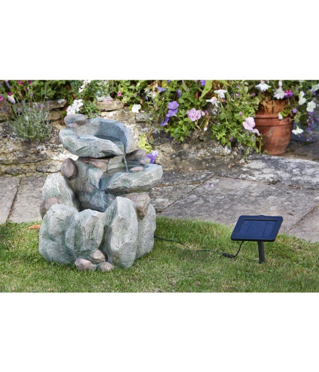 Bild 2 von Polyresin-Gartenbrunnen Felsbecken mit Solar, 51 x 54 x 51 cm