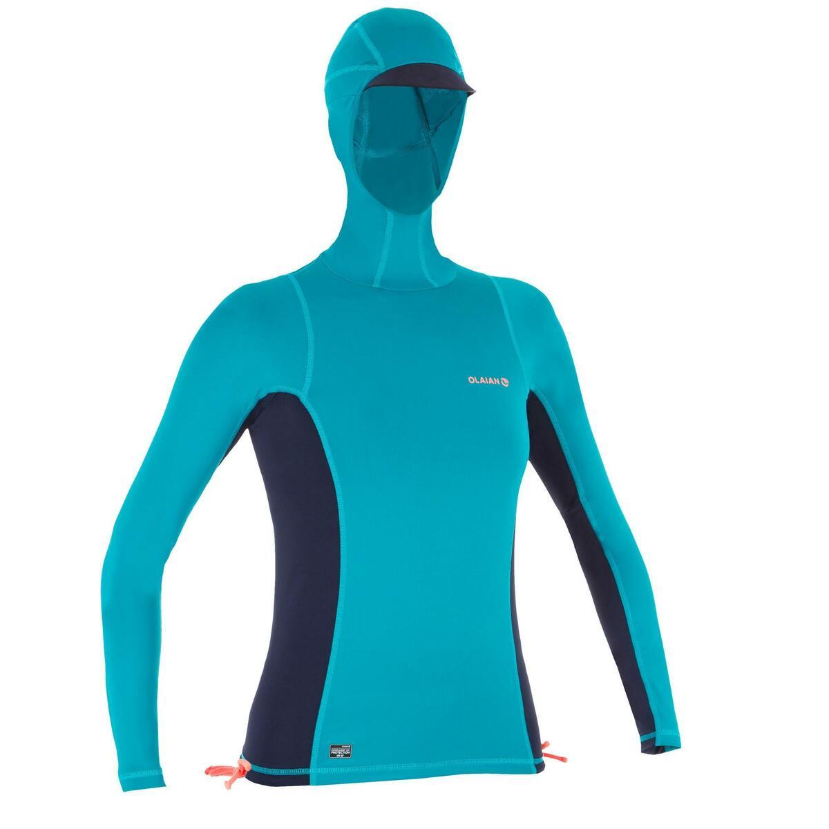 Bild 1 von UV-Shirt Surfen Top 500 mit Kapuze Damen blau/grün