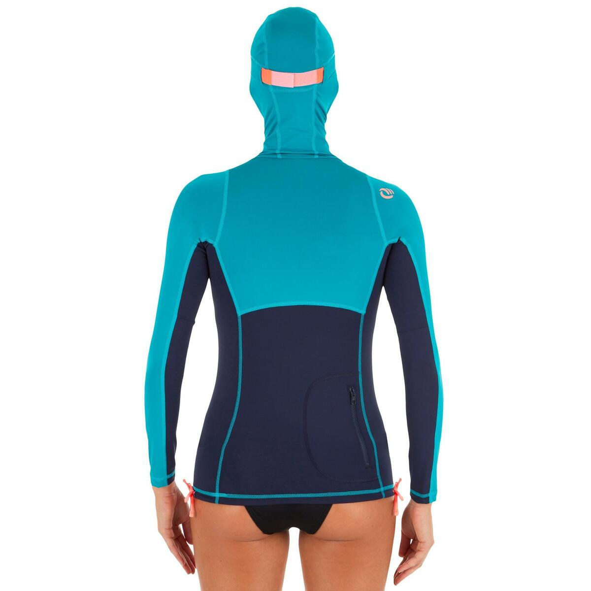 Bild 2 von UV-Shirt Surfen Top 500 mit Kapuze Damen blau/grün