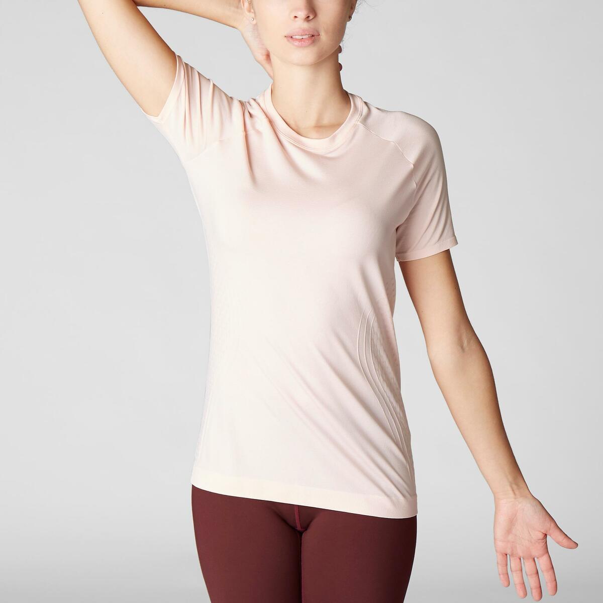 Bild 2 von T-Shirt dynamisches Yoga nahtlos Damen rosa