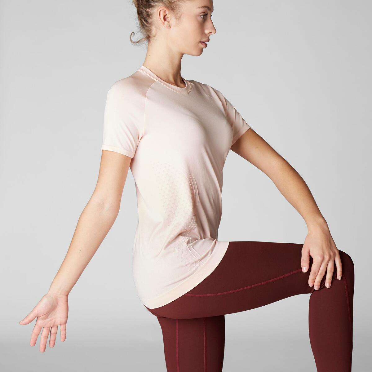 Bild 3 von T-Shirt dynamisches Yoga nahtlos Damen rosa