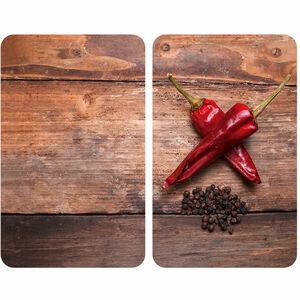 WENKO Glas-Herdabdeckplatten Pepper, 2er-Set