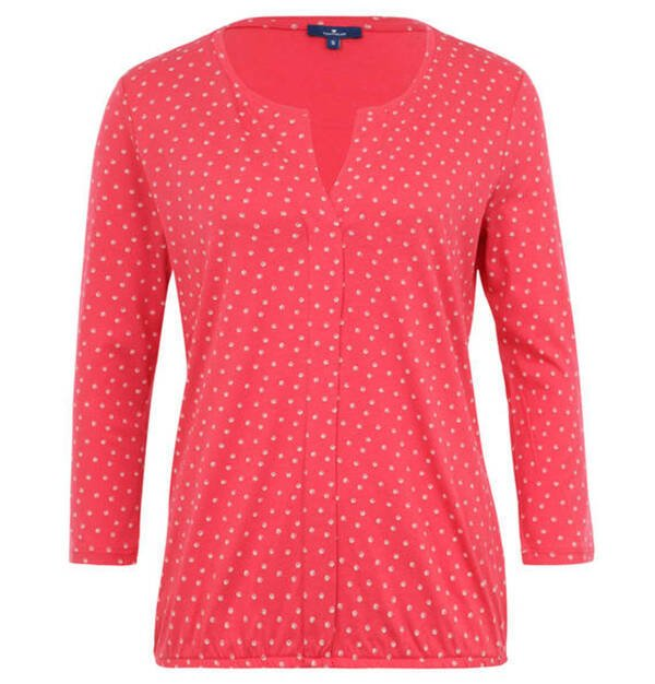 TOM TAILOR             Blusenshirt, Split-Neck, Allover-Print, Gummibund