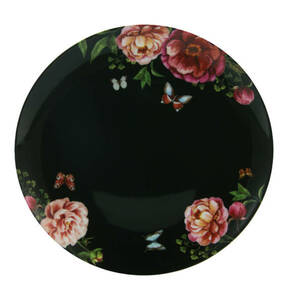 "CreaTable             Dessertteller ""Enjoy Roses"", schwarz, 22 cm"