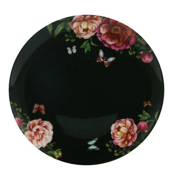 "CreaTable             Dessertteller ""Enjoy Roses"", schwarz, 22 cm"