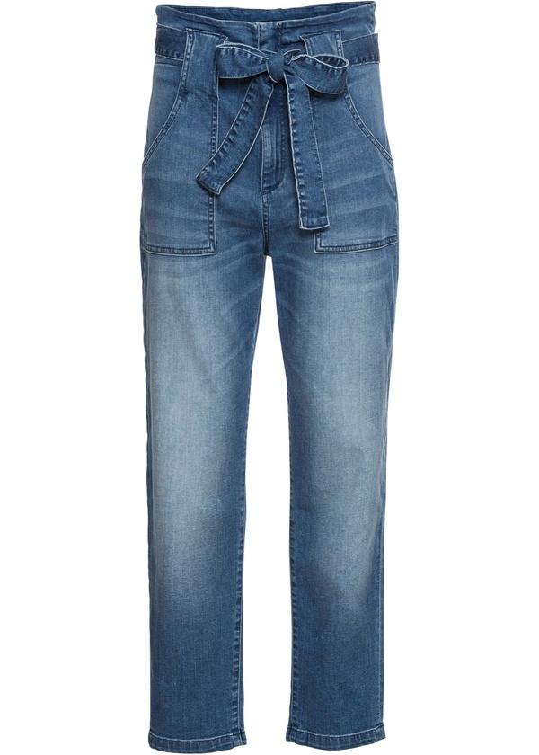 High-Waist-Jeans mit Bindegürtel (2-tlg.)