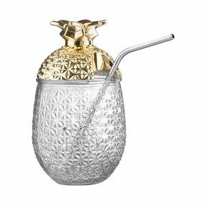 Glas mit Strohhalm 500ml gold