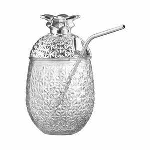 Glas mit Strohhalm 500ml silber