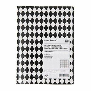 Paper Poetry Notizbuch A6 mit Hülle schwarze Rauten