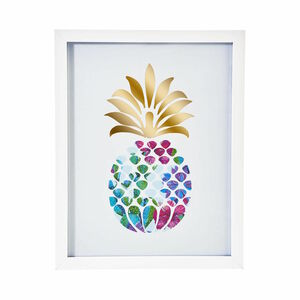 Butlers Picture Poetry gerahmtes Bild Ananas 28x35,5 cm weiss
