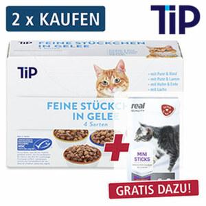 Feine Stückchen in Gelee oder Soße Katzen-Nassnahrung jede 12 x 100 g = 1200-g-Packung, 2x kaufen