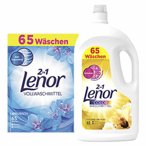 Lenor Waschmittel Flüssig/Pulver 65 Waschladungen, versch. Sorten, jede Packung/Flasche