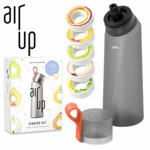 """Trinksystem-Starter-Set """"air up"""" - 6-teilig - bestehend aus 1 BPA-freien-Kunststoffflasche """"air up"""", ca. 650 ml Inhalt und 5 Duft-Pods in den Geschmacksrichtungen Apfel, Limette, Pfirsich, Orange-Mar"""