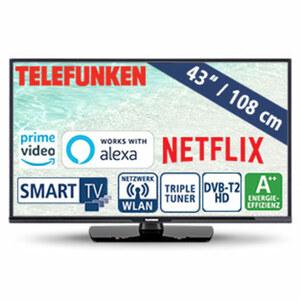 """43""""-FullHD-LED-TV D43F470N4CWI • HbbTV, 800-Hz-Technik • 3 HDMI-/2 USB-Anschlüsse, CI+ • Stand-by: 0,5 Watt, Betrieb: 37 Watt • Maße: H 65,3 x B 111,2 x T 9,1 cm • Energie-Effizienz A++ ("""